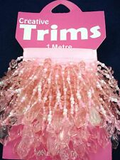 Beaded Trim 1m Light Pink Faceted Drops Beads Sewing Lampshade FREE POSTAGE