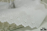 """14Yds Broderie Anglaise cotton eyelet lace trim 2.5"""" white YH750 laceking2013"""