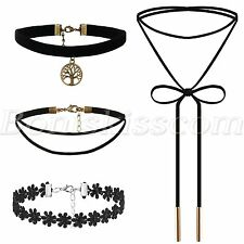 4pcs Womens Gothic Tree of Life Velvet Tassel Lace Tattoo Choker Collar Necklace