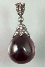 Antique Victorian Look 925 Silver Pendant 1.35cts Rose Cut Diamond Garnet Pearl