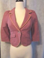ADORABLE Free People Blazer SZ 2 Striped Anthropologie Hipster Red Cropped