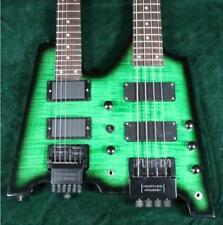 TOp Quality Double Neck Headless Electric Guitar Electric Bass Figured Maple