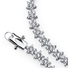 925 Sterling Silver Stars Shape Simulated Diamond Tennis Bracelet Gift For Her