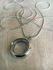 Sterling Silver Round Floating Glass Locket Pendant Necklace Brand New 31""