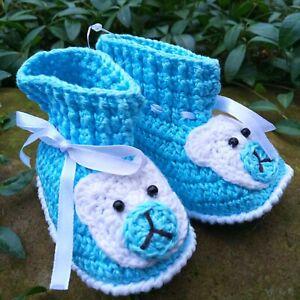 Handmade Teddy bear booties Hand crochet blue baby shoes 6-9 m Unisex slippers