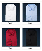 Mens Dress Shirts Formal Casual Silk & Cotton Business Camisas Multicolor EU6342