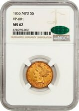 1855 $5 NGC/CAC MS62 (MPD, VP-001) Finest Known Variety - Finest Known Variety