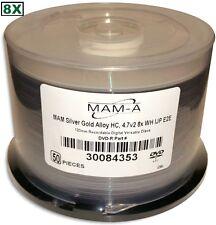 MAM-A (Mitsui) =SILVER PLUS GOLD ALLOY= White Inkjet Hub 8X DVD-R's 50-Pak