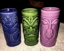 Accoutrements Tiki Hawaiin Mugs Tumblers Barware 2001 Set Of 3