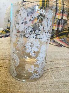 Gisela Graham Large Glass Antique Silver  Tea Light Holder - Vintage style