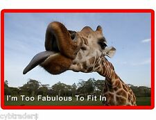 Funny Fabulous Giraffe Tongue Out Refrigerator / Fridge / Locker Magnet
