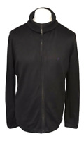 French Connection Men's Jumper Black Large L Zip High Neck 100% Cotton