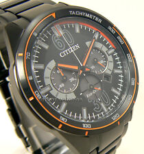 CITIZEN MEN ECO DRIVE CHRONO TACHY BLACK COATED STAINLESS STEEL 100m CA4125-56E