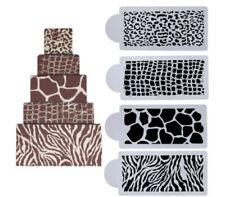 Animal Print, Zebra, Snake, Giraffe, Leopard Cake Decor Border stencils 4 pack