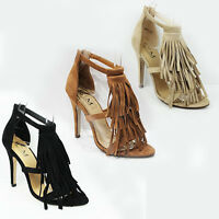 WOMENS STRAPPY HIGH HEEL OPEN TOE TASSEL ANKLE SANDALS LADIES SHOES NEW SIZE 3-8