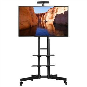 32 to 65in Height-Adjustable Mobile TV Stand Rolling TV Cart w/ Lockable Wheels
