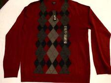 Womens APT. 9 Merino Wool Blend Argyle Cardigan Burgundy Gray Black Size L  NWT