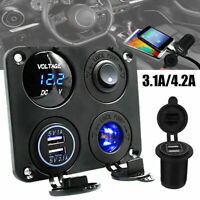 12V-24V Car Boat Cigarette Lighter Socket Splitter 2 USB Charger Voltmeter 3.1A