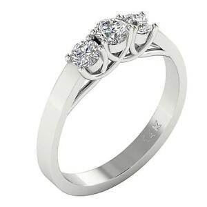 I1 G 1.01 Ct Genuine Diamond 3 Stone Engagement Ring 14K Solid Gold Prong Set