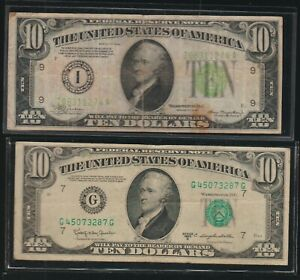 Lot of 2 $10.00 Federal Reserve Notes, Average Circulated, 1934 and 1950-D