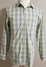 Banana Republic Dress Shirt Green Blue  Long Sleeve Cotton Size16 1/2-34/35