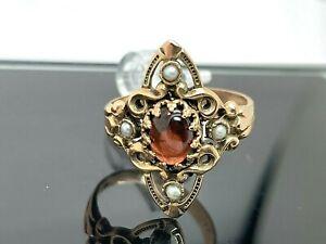 Orange Cabochon Gemstone & Pearl Ring 14k Rose & Yellow Gold Women's Vintage 7