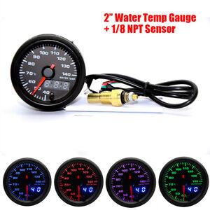 52mm Analog/Digital Dual Display 7 Colors LED Car Water Temp Gauge With Sensor