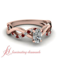 1 Ct Cushion Cut Diamond And Round Ruby Accents Engagement Rings In Rose Gold