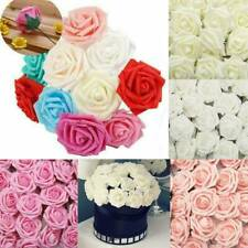 50pcs Artificial Flowers Foam Roses with stem Wedding Bride Bouquet Party Decor