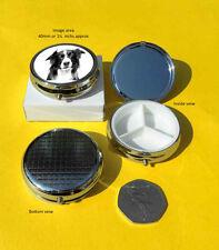 Border Collie Dog Polished Metal Pill Box Gift
