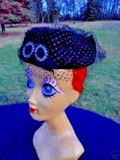 Vintage Black Pillbox Fishnet Mesh Veil Hat Cap Gothic Retro Glamorous Funeral