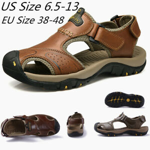 Men's Leather Sandals Summer Open Toe Sandles Sport Sandal Hiking Water Shoes SZ