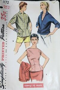 Vtg 1950s Simplicity 1172 Fitted Blouse Pullover Shirt SEWING PATTERN 14