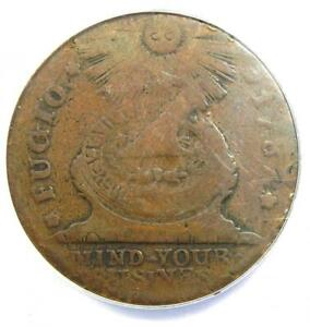 1787 Fugio Cent 1C Colonial Copper Coin - Certified ANACS VG10 - Rare!