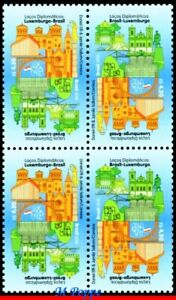 18-12 BRAZIL 2018 DIPLOMATIC TIES WITH LUXEMBOURG, MONUMENTS, FLAGS, BLOCK MNH
