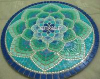 30'' Marble Coffee Table Top Malachite Mosaic Stone Inlaid Kitchen Decor H4031