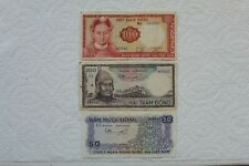 Vietnam Banknotes, 50 Dong, 100 Dong and 200 Dong from 1966