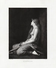 """Spiritual Jean-Jacques HENNER 1800s Etching """"Mary Magdalene"""" SIGNED Framed COA"""