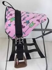MINIATURE HORSE / SM PONY BAREBACK PAD CHILDRENS SADDLE PINK WITH INDIAN ARROWS