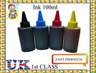 100ml X 4 Universal Printer Refill Ink Bottles for CISS or Refillable Cartridges