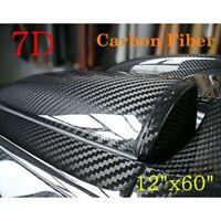 7D Noir Fibre de Carbone Vinyle Voiture Drapé 30x152cm Manuel Autocollant Film