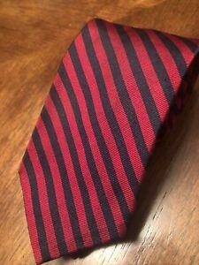 VTG Robert Talbott Mens Tie Silk England Red/BlkStripe Tweeds & Weeds California