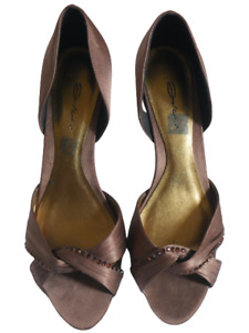 Dolcis Brown Diamante Shoes Ladies Size 39 UK 6 Satin Evening Party Heels Womens