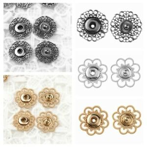 Retro Snaps Clasps Fasteners Hollow Flower Press Stud Buttons Clothes DIY Sewing
