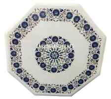 "24"" White Marble Coffee Table Top Marquetry Mosaic Lapis Inlay Garden Arts H2708"