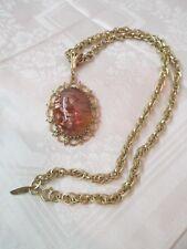 Vintage Whiting Davis Necklace large glass Cabochon copper color Pendant