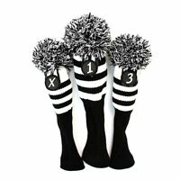Black & White Stripe Sock Retro Headcover 3 pc Set Golf Head Wood covers