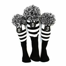 Black & White Stripe Sock Retro Headcover 3 pc Set Golf Head Wood covers