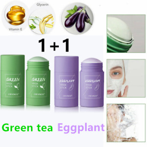 Natural Green Tea Eggplant Mask Purifying Clay Stick Anti-Acne Deep Oil control