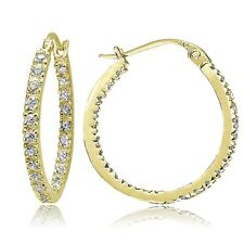 18k Gold over Silver 20mm Inside Out CZ Hoops Earrings
